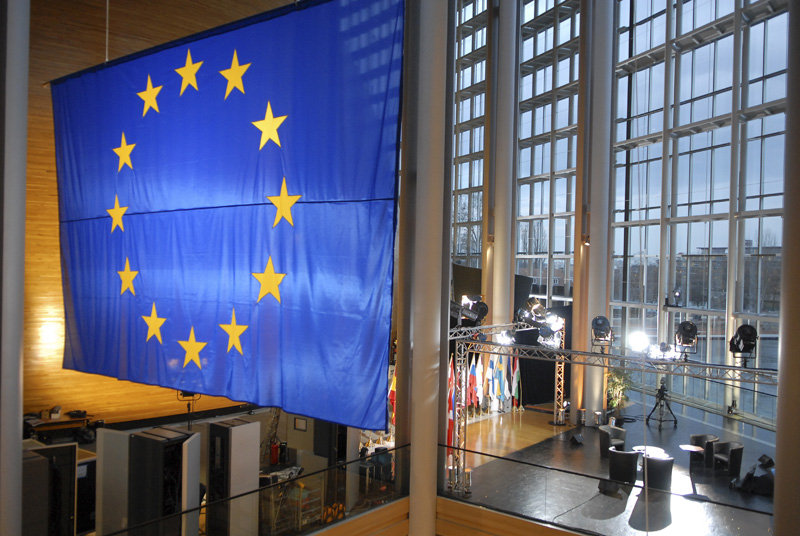 A European flag hangs inside the European Parliament building Louise Weiss in Strasbourg - LOW